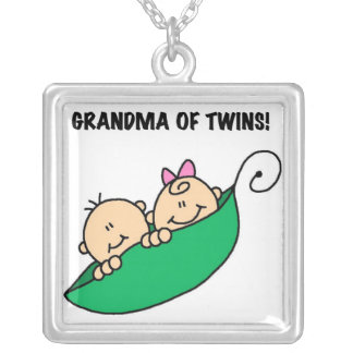 Grandma of Twins Gifts Silver Plated Necklace