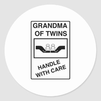 Grandma of Twins Handle With Care Round Sticker