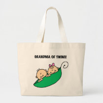 Grandma of Twins Peas in a Pod Tshirts and Gifts Large Tote Bag