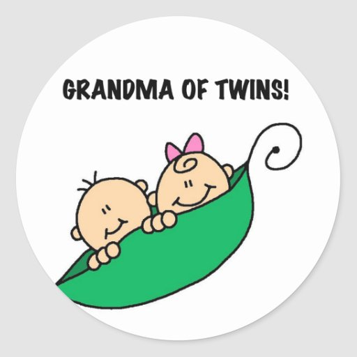 Grandma of Twins Peas in a Pod Tshirts and Gifts Classic Round Sticker
