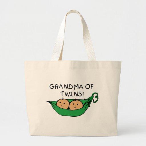 Grandma of Twins Pod Large Tote Bag