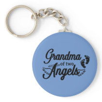 Grandma of Two Angels Keychain