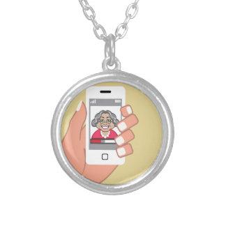 Grandma on the phone round pendant necklace