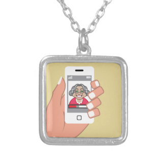 Grandma on the phone square pendant necklace