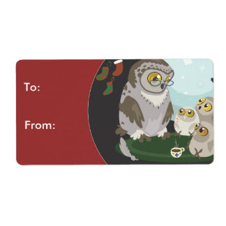Grandma Owl Storytelling, To&From Gift Stickers Shipping Label