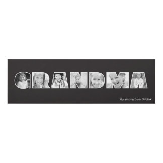 GRANDMA Photo Custom Frame Black Panel Wall Art