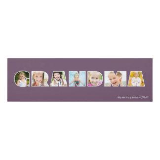 GRANDMA Photo Custom Frame Gift Purple Panel Wall Art