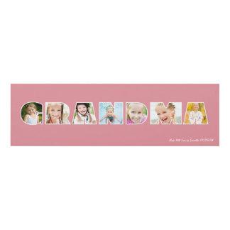 GRANDMA Photo Custom Frame Pink Panel Wall Art