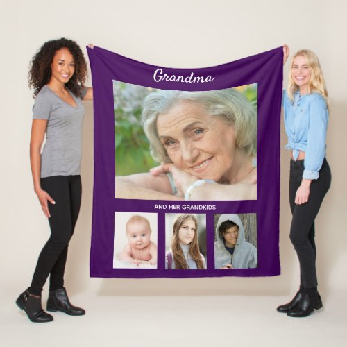 Grandma photo grandchildren kids text purple fleece blanket