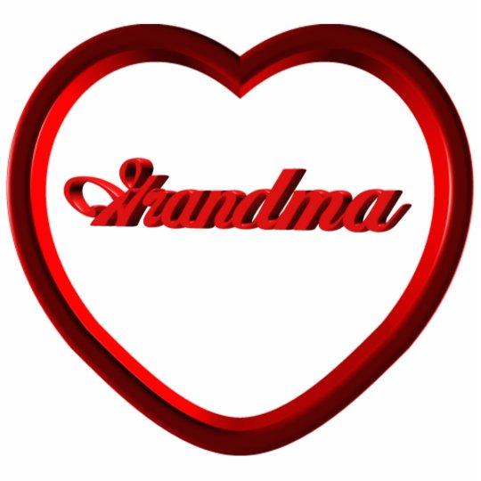 Grandma Red Heart Frame Statuette