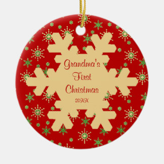 Grandma s First Christmas Red Snowflake Ornament