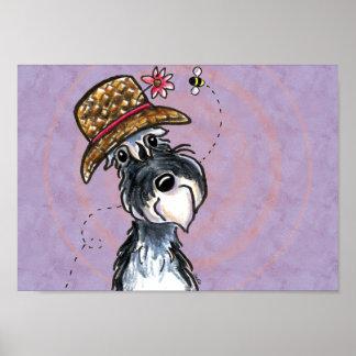 Grandma Schnauzer Flower Hat Plum Off-Leash Art™ Poster