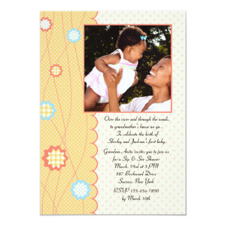 "Grandma Sip and See Baby Shower Invitation 5"" X 7"" Invitation Card"