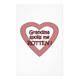 Grandma Spoils Me Customized Stationery