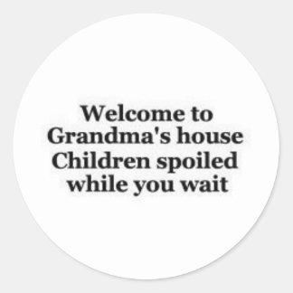 Grandma spoils while you wait classic round sticker