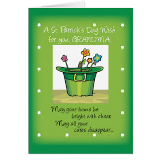 Grandma, St. Patrick's Day Hat with Flowers Card