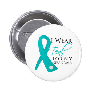 Grandma - Teal Ribbon Ovarian Cancer Button