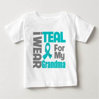 Grandma - Teal Ribbon Ovarian Cancer Support Baby T-Shirt