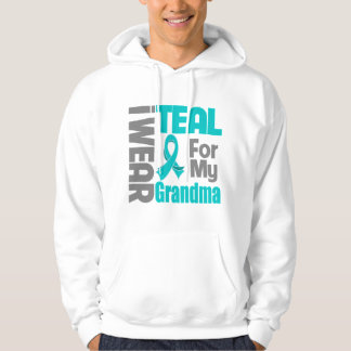 Grandma - Teal Ribbon Ovarian Cancer Support Hooded Pullovers