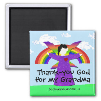 Grandma Thank you God 2 Inch Square Magnet