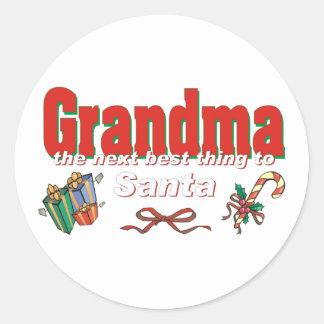 Grandma, The Next Best Thing To Santa Classic Round Sticker