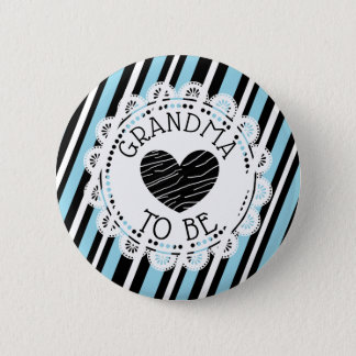 Grandma to be blue black Heart Baby Shower Button