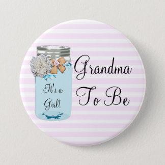 Grandma to be Blue Mason Jar Rustic Button