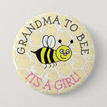 Beach Themed GRANDMA to Be Bumblebee Baby Shower Button