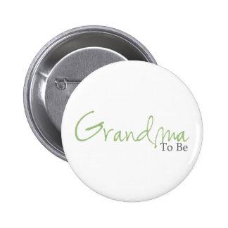 Grandma To Be (Green Script) Button