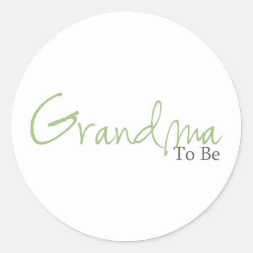 Grandma To Be (Green Script) Classic Round Sticker