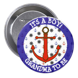 GRANDMA to be, Nautical Baby Shower button