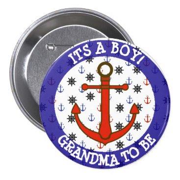 Beach Themed GRANDMA to be, Nautical Baby Shower button
