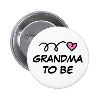 Grandma to be pin button with pink heart