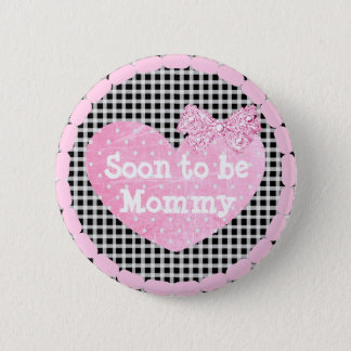 Grandma to be Pink & Black  Baby Shower Button