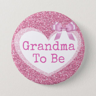 Grandma to be Pink Bow Baby Shower Button