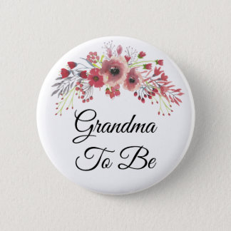 Grandma to be  Pink Floral Baby Shower Button