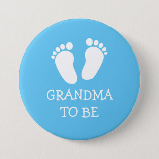 GRANDMA TO BE pink or blue baby foot steps buttons