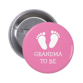 GRANDMA TO BE pink or blue baby footprints buttons