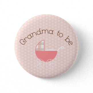 Grandma to Be Pink Pram Button button