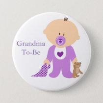 Grandma To Be Purple Baby Button