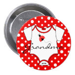 Grandma To Be Red and White Ladybug 3 Inch Round Button
