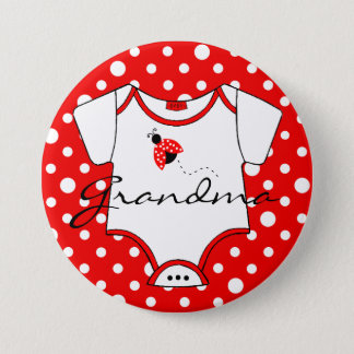 Grandma To Be Red and White Ladybug Button