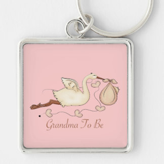 Grandma To Be Silver-Colored Square Keychain