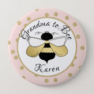 Grandma to Bee Gold Confetti Pinback Button