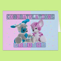 Grandma To Twins Congratulations Card