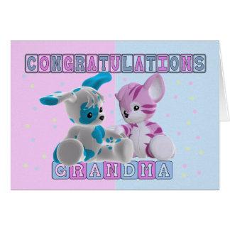 Grandma To Twins Congratulations Card