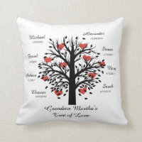 Grandma Tree (hearts) Black on White 8 Names/Dates Throw Pillow