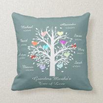 Grandma Tree (hearts) White on Blue, 8 Names/Dates Throw Pillow