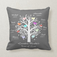 Grandma Tree (hearts) White on Gray, 8 Names/Dates Throw Pillow