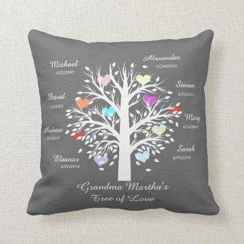 Grandma Tree hearts White on Gray 8 NamesDates Throw Pillow